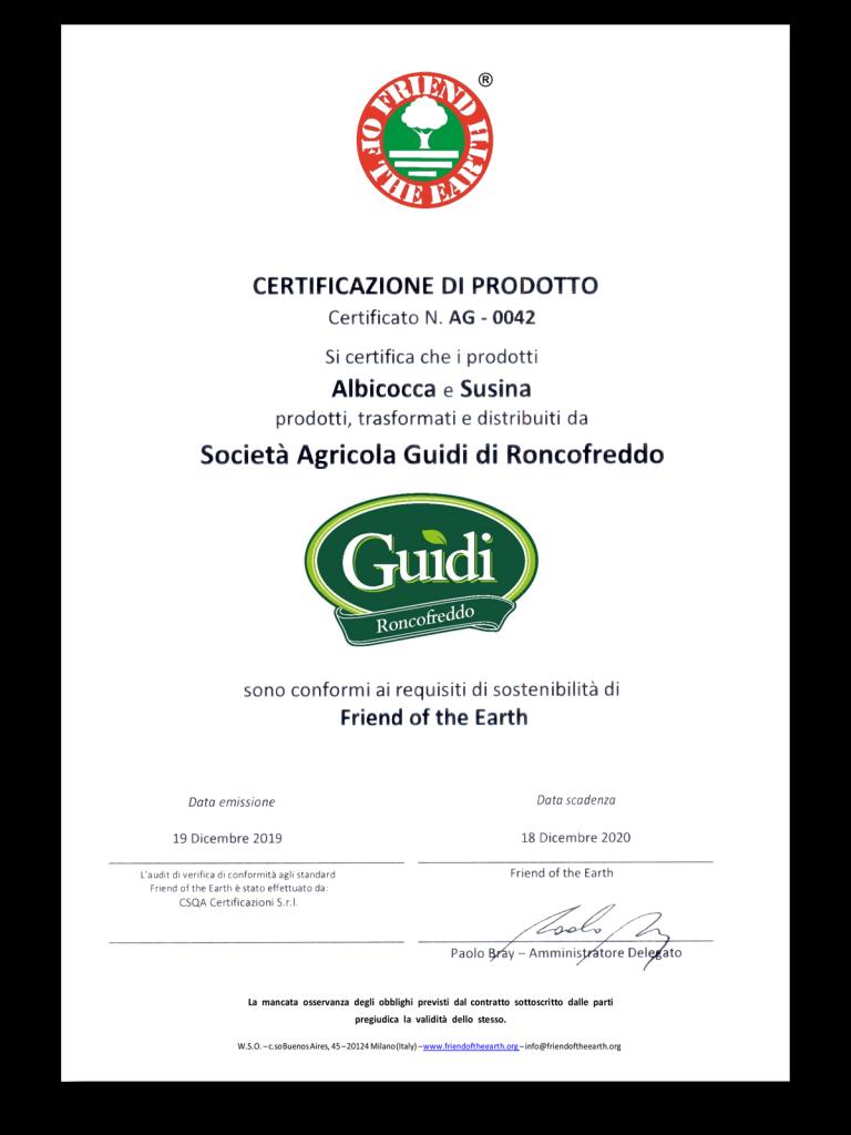 certificato guidi frutta sostenibile