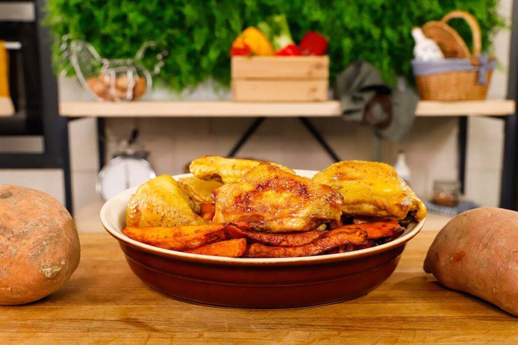 pollo marinato con patate dolci
