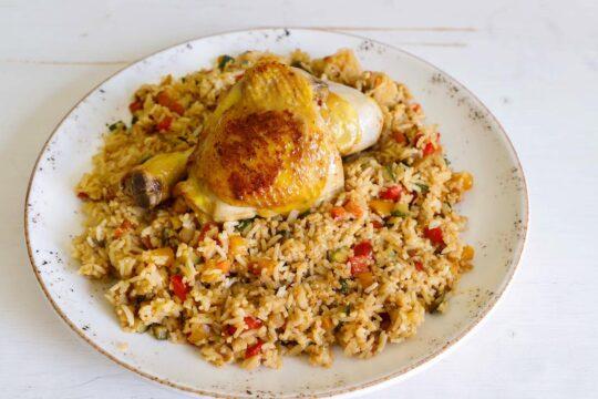 fusi di pollo e sovraccosce con riso